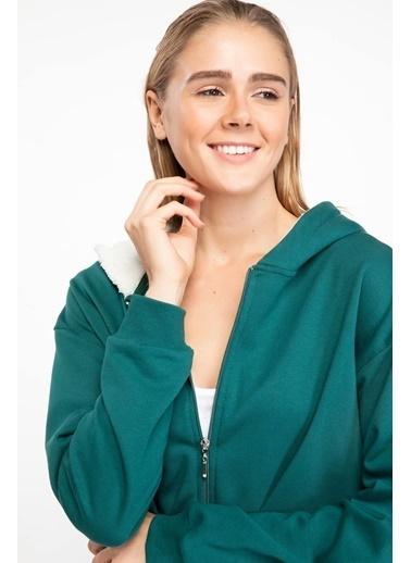DeFacto Peluş Kapşonlu Fermuarlı Sweatshirt Yeşil